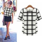 Women Simple Casual Style Black White Plaid Short Sleeve T-shirt Blouse Tops