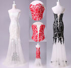 Glam Wedding Evening Bridal Gown Prom Bridesmaid Long Party Dress 6 8 10 12 14 +