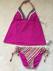 LUCKY HIPPIE CHIC BERRY TANKINI REVERSIBLE SWIMSUIT BOTTOMS MED
