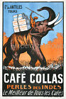Vintage French coffee print poster, large 4 sizes available