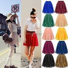 Women's Lady Chiffon Pleated Retro Midi Short Skirt Elastic Waist Dress ItS7