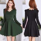Princes Neckline Long Sleeve Pullover Cinched Waist Women Pleated Mini Dress New