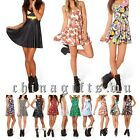 Sexy Women's Stretch Mini Dress Floral Pleated Summer Beach Short Sun Dress