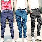 Hot Mens Harem Tapered Drop Crotch Cuffed Wild Solid Pants Casual Slim Trousers
