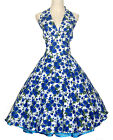 Vintage Dancing Party Ball Gown Prom Swing Jive Rockabilly Skirt 50s Dress Blue