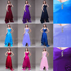 New Halter Satin Women's Dresses Hi-Lo Prom Dress Formal Bridesmaid Party Gown