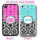 PERSONALIZED HOT PINK TEAL MIX BLACK DAMASK MONOGRAM CASE FO