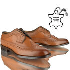 MENS LEATHER CASUAL FORMAL BROGUES LACE OFFICE WORK SMART PARTY TAN SHOES SIZE