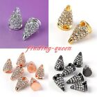 10pc Rhinestones Solid Metal Spike Rivet Bracelet Connector Hip Hop Charms Beads
