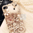 Fluffy Forks Bling Rhinestone Gold Crystal Hard Skin Case Cover For LG / iPhone