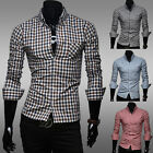 Men's Casual Long Sleeve Slim Fit Shirt Plaids Shirt 4 Color Free ShippingMCL168