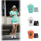 97k New Women Drawstring Skirt Letters Crew Neck Short Sleeve Sports Suit