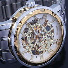 Golden Dial Men Skeleton Exposed Dial Gears Auto Mechanical Wrist Watch Gifts WA