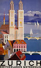 Vintage European Zurich Advertisement print poster, 4 large sizes available