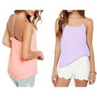 Women Sexy Backless Double-Layer Chiffon Tops Camisole Spaghetti Strap Tank Vest