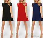 Woman Stitching Lace Short Sleeve Loose Chiffon Casual Dress Club Cocktail Party