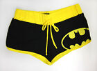DC Comics Batman Logo Black / Yellow Women's Juniors Drawstring Booty Shorts