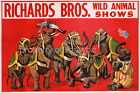 Vintage Richards Bros Circus Art ad print poster, large 4 sizes available