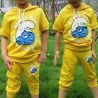 Set of 2 Baby Kids Boys Girls Clothes Short Sleeve T shirt + Cropped Pants 3-6 y