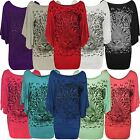 New Ladies Plus Size Animal Sequin ¾ Batwing Sleeve Baggy Tops 14-28