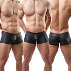 Sexy Mens Shorts Underwear Faux Leather Briefs Trunks Boxer Shorts Underpants#C2