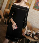 Woman Fashion Korean Sexy Slim hollow neck rendering package hip dress WQL1386