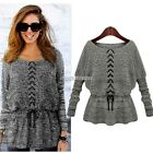 Ladies batwings Knitted Pullover Jumper Sweater Round Neck Skirted Top Knitwear
