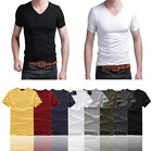 Hot sale T-Shirt Sexy Mens V-Neck Tee Short Sleeve Slim Fit Solid 4 Size UKMD