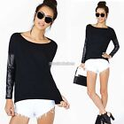 MLXLXXL Women Plus PU Faux Leather Long Sleeve Tops T Shirt Blouse Autumn Spring