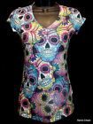 Juniors Skull T-Shirt in Multi-Color Vneck Cap Sleeves Day of Dead Goth Rock S M