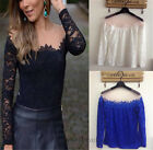Woman Wild Lace Hollow Long Sleeve Casual Tops Stitching T shirt Halter Blouse
