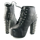 Womens spike stud lace up block high chunky heels platform shoes ankle boots new