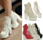 Womens Fashion Lace Up Chunky Heel Platform Ankle Boots Booties Shoes 689-18