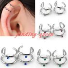 Stainless Steel Hoop Crystal Fake Cartilage Ear Cuff Clip On Earring No piercing