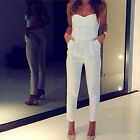 Women Sleeveless Strapless Sexy Bandeau Bodycon Jumpsuit Romper Long Pants White
