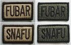 New USMC Velcro BDU Patches--SNAFU/FUBAR--Airsoft Game