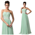 Elegant Strapless Formal Evening Ball Gown Prom Wedding Party Long Pageant Dress