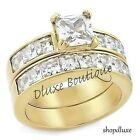 3.75 Ct Princess Cut AAA CZ 14k Gold Plated Wedding Ring Set Women's Size 5-10