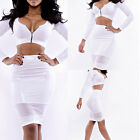 Hot Women Sexy Two-piece Bodycon Clubwear Long Sleeve Evening Party Mini Dress