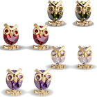 1Pair 18k Gold Plated 0.7mm owl Stud Earrings with Zircon 14.4x8.7mm M3061