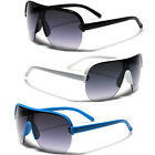 Oversized Big Half Frame Men Women Shield Aviator Sunglasses Black White Blue