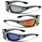 Silver Motorcycle Riding Goggles Padded Sports Biker Sunglasses Mirror Lens