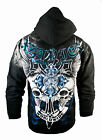 NEW HOLIDAY XZAVIER HOODIE WINGED SKULL CROSS  HOODY URBAN WEAR MEN'S ALL SIZES