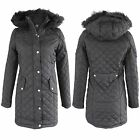 NEW LADIES WOMENS BLACK DIAMOND QUILTED JACKET PADDED WINTER COAT JACKETS SCHOOL
