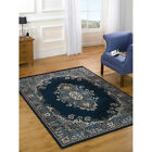 Traditional Floral Carpet Floor Mat – Navy Blue Small Large Quality Rug 8 Sizes