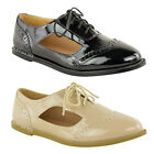 LADIES WOMENS CUT OUT BROGUES SHOES LACE UP FLAT SCHOOL WORK OFFICE PUMPS SIZE