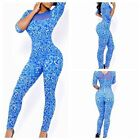 Sexy Womens Half Sleeve Blue Floral Print Bodycon Rompers Jumpsuits Clubwear