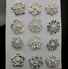 12Px small size crystals faux pearl brooches flower floriated brooch collar pins
