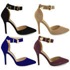 LADIES WOMENS HIGH HEEL POINTED TOE STILETTO SANDALS ANKLE STRAP CUFF SHOES SIZE