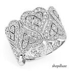 Women's .925 Sterling Silver Cubic Zirconia Love Heart Wide Band Fashion Ring